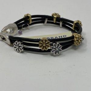 """Lucky Brand Black Leather Flower Bead Bracelet 7"""""""